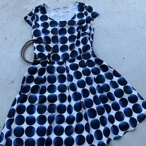 White and blue belted polka dot dress